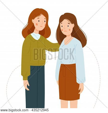 The Girl Supports Her Friend. The Girl Is Crying. Women Support Each Other Isolated On A White Backg