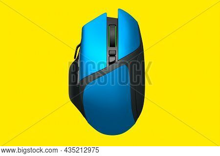 Modern Blue Wireless Gaming Computer Mouse Isolated On Yellow Background