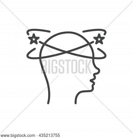 Man Feel Dizzy Line Icon. Tired Man With Nausea Outline Icon. Dizziness, Migraine, Headache, Distrac