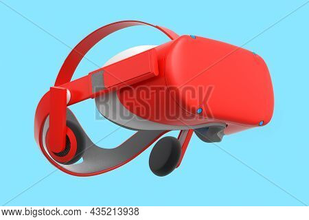 Virtual Red Reality Glasses Isolated On Blue Background. 3D Rendering