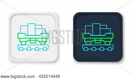 Line Cargo Train Wagon Icon Isolated On White Background. Full Freight Car. Railroad Transportation.