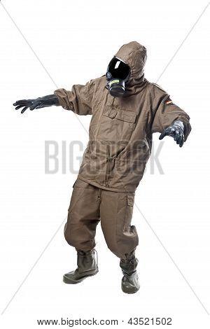 Man In Hazard Suit Scared