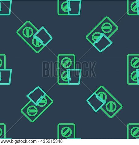 Line Pills In Blister Pack Icon Isolated Seamless Pattern On Blue Background. Medical Drug Package F