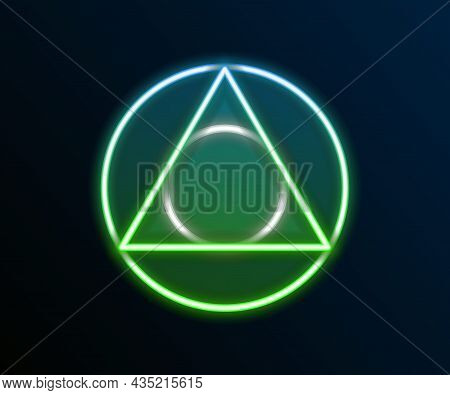 Glowing Neon Line Triangle Math Icon Isolated On Black Background. Colorful Outline Concept. Vector