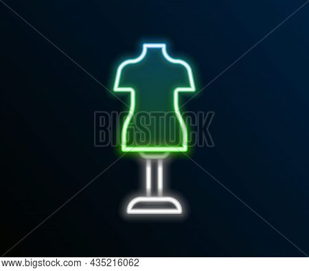 Glowing Neon Line Mannequin Icon Isolated On Black Background. Tailor Dummy. Colorful Outline Concep