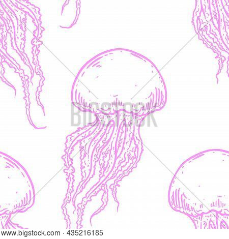 Hand Drawn Jellyfish Vector Seamless Pattern. Medusa With Long Tentacles Background Illustration In