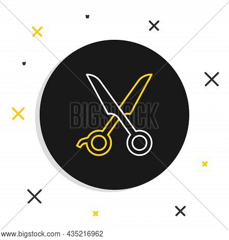Line Scissors Hairdresser Icon Isolated On White Background. Hairdresser, Fashion Salon And Barber S