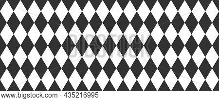 Harlequin Seamless Pattern. Geometric Background With With Black And White Rhombus. Circus Or Masque
