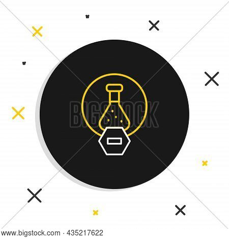 Line Test Tube And Flask Chemical Laboratory Test Icon Isolated On White Background. Laboratory Glas
