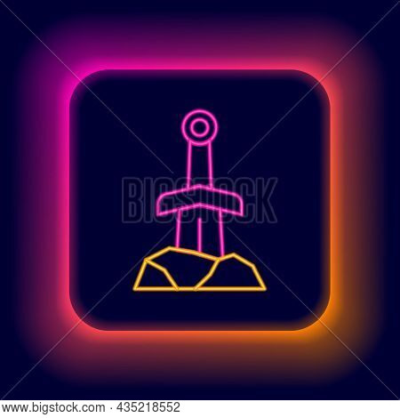 Glowing Neon Line Sword In The Stone Icon Isolated On Black Background. Excalibur The Sword In The S