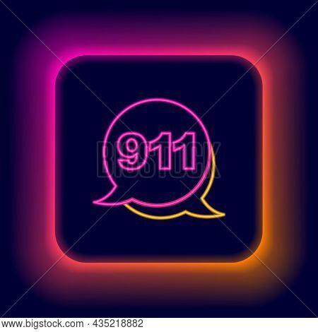 Glowing Neon Line Telephone With Emergency Call 911 Icon Isolated On Black Background. Police, Ambul