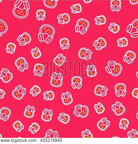Line Gas Mask Icon Isolated Seamless Pattern On Red Background. Respirator Sign. Vector