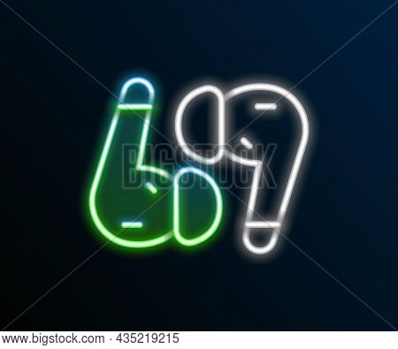 Glowing Neon Line Air Headphones Icon Icon Isolated On Black Background. Holder Wireless In Case Ear