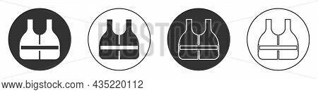 Black Life Jacket Icon Isolated On White Background. Life Vest Icon. Extreme Sport. Sport Equipment.