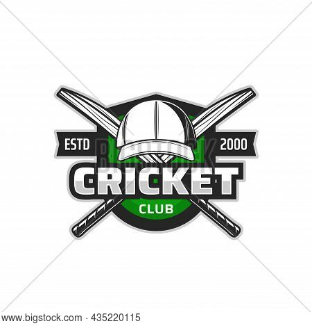 Cricket Field Icon With Vector Sport Bats And Player Uniform Cap On Heraldic Shield. Crossed Cricket