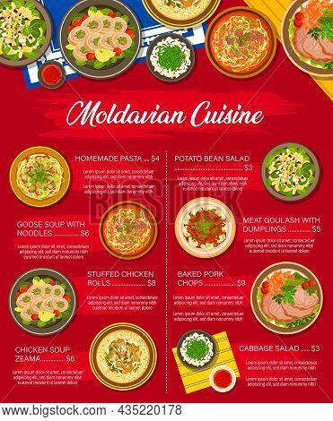 Moldavian Food Menu, Moldovan Cuisine Dishes And Meals, Vector. Moldovan Traditional Food, Moldavian