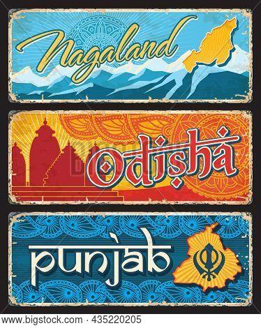 Nagaland, Odisha And Punjab Indian States Vintage Plates Or Banners. Vector Aged Signs, Travel Desti