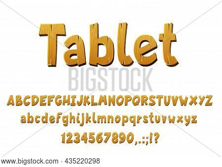 Wooden Font Vector Type With Isolated Oak And Pine Letters, Digits And Symbols. Wooden Alphabet Font