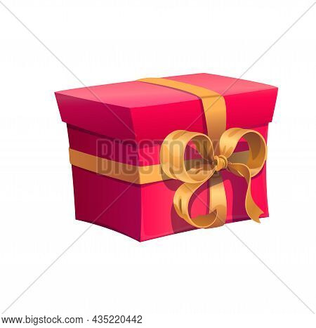 Red Holiday Gift Box With Golden Bow Ribbon For Birthday Present. Vector Isolated Gift Box For Celeb
