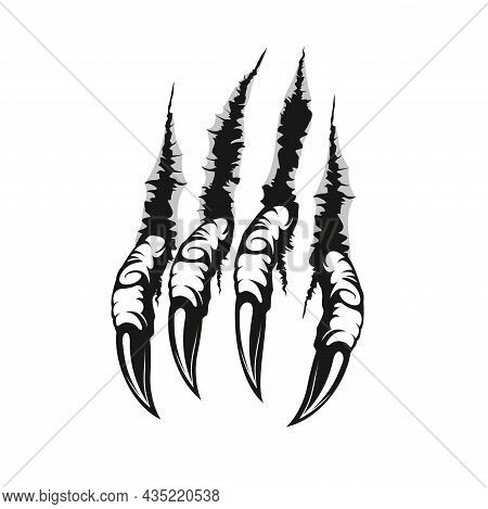 Dragon Claw Marks And Scratches, Vector Paw Of Scary Monster Animal. Horror Talons Ripping, Tearing