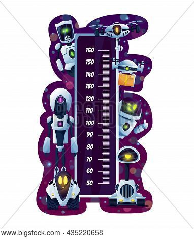 Kids Height Chart Or Growth Measure Meter With Cartoon Robots And Drones. Vector Wall Meter Ruler Sc
