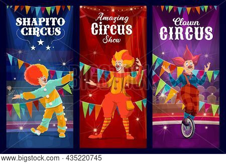 Shapito Circus Clowns, Jesters And Harlequin Vector Characters Performing Comedy Show On Carnival St