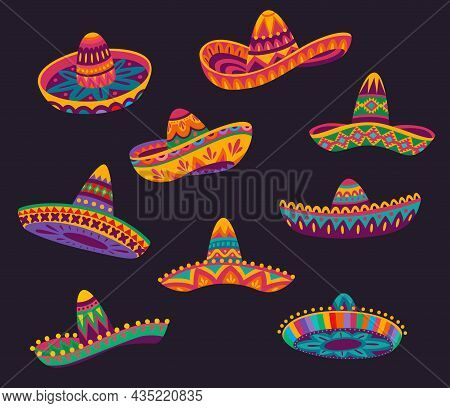 Cartoon Mexican Sombrero Hats With Color Ethnic Pattern, Vector Mexico Holiday And Fiesta Party Obje