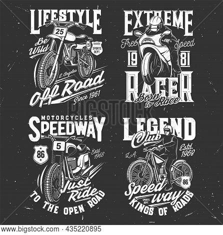 Speedway And Motocross T-shirt Prints, Bike Races And Motorcycle Sport Club Vector Emblems. Speedway