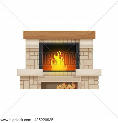 Wood Burning Fireplace Or Hearth Isolated Vector Icon. Stone Or Brick Home Fireplace Or Stove With B