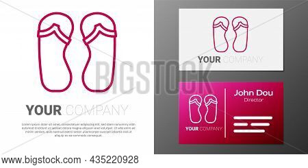 Logotype Line Flip Flops Icon Isolated On White Background. Beach Slippers Sign. Logo Design Templat