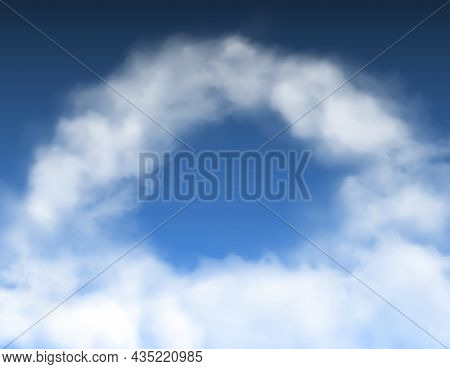 Round Arch Clouds In Blue Sky Heaven Background. Vector Fog Or Smoke Frame, Realistic Cloudy Sky, 3d
