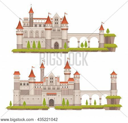 Cartoon Medieval Fairytale Stone Castle With Towers, Gate And Flags. Ancient Palace, Vector Fantasy