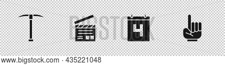 Set Pickaxe, Movie Clapper, Calendar With Date July 4 And Number 1 One Fan Hand Glove Icon. Vector