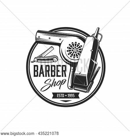 Barbershop Icon. Vector Barber Shop Razor Blade, Beard Shaver, Trimmer And Hair Dryer. Barber Tool A