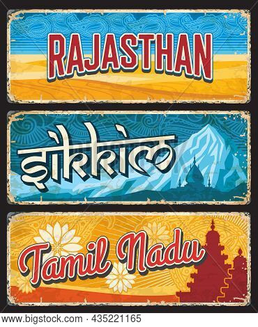 Rajasthan, Sikkim And Tamil Nadu Indian States Vintage Plates Or Banners. Vector Travel Destination