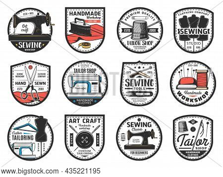 Sewing Tools, Tailor Shop Icon, Custom Clothing Sewing Atelier Vector Symbols. Vintage And Modern Se