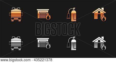 Set Fire Truck, In Burning Garage, Extinguisher And House Icon. Vector