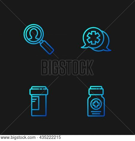 Set Line Medicine Bottle, , Medical Analysis And Dialogue With The Doctor. Gradient Color Icons. Vec