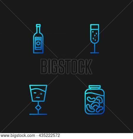 Set Line Pickled Cucumbers In A Jar, Wine Glass, Glass Bottle Of Vodka And Champagne. Gradient Color