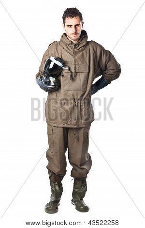 Serious Man In Hazard Suit