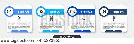 Set Line Undefined Key, Digital Door Lock, Key And Unlocked. Business Infographic Template. Vector