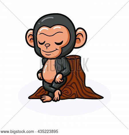 Cute Baby Chimpanzee Cartoon Leaning Against Tree Stump
