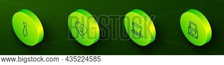 Set Isometric Line Tie, Heart With Keyhole, Cylinder Hat And Lock And Heart Icon. Vector