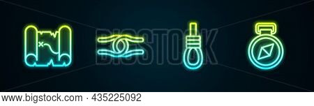 Set Line Pirate Treasure Map, Rope Tied In Knot, Gallows Rope Loop Hanging And Compass. Glowing Neon