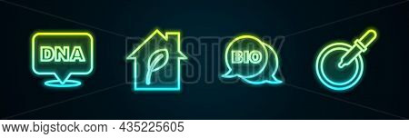 Set Line Dna Symbol, Eco Friendly House, Bio Healthy Food And Petri Dish With Pipette. Glowing Neon
