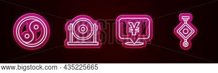 Set Line Yin Yang, Gong, Chinese Yuan Currency And Paper Lantern. Glowing Neon Icon. Vector