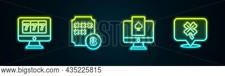 Set Line Online Slot Machine With Jackpot, Lottery Ball On Bingo Card, Poker Table Game And Casino C