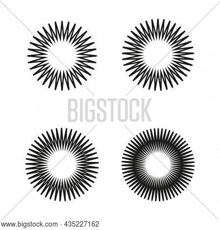 Radiant Circle Icon Set. Abstract Geometric Ornament. Starburst Label. Design Element. Vector Illust