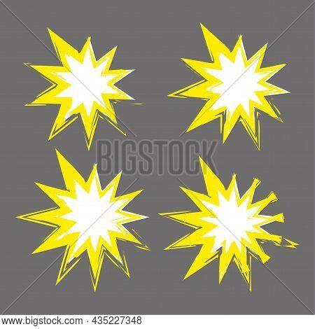 Yellow Bang Icon Set. Gray Background. Watercolor Insignia. Comic Boom Symbol. Vector Illustration.