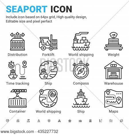 Seaport Icon Set Design Outline Style Isolated On White Background. Vector Icon Marine Port, Logisti